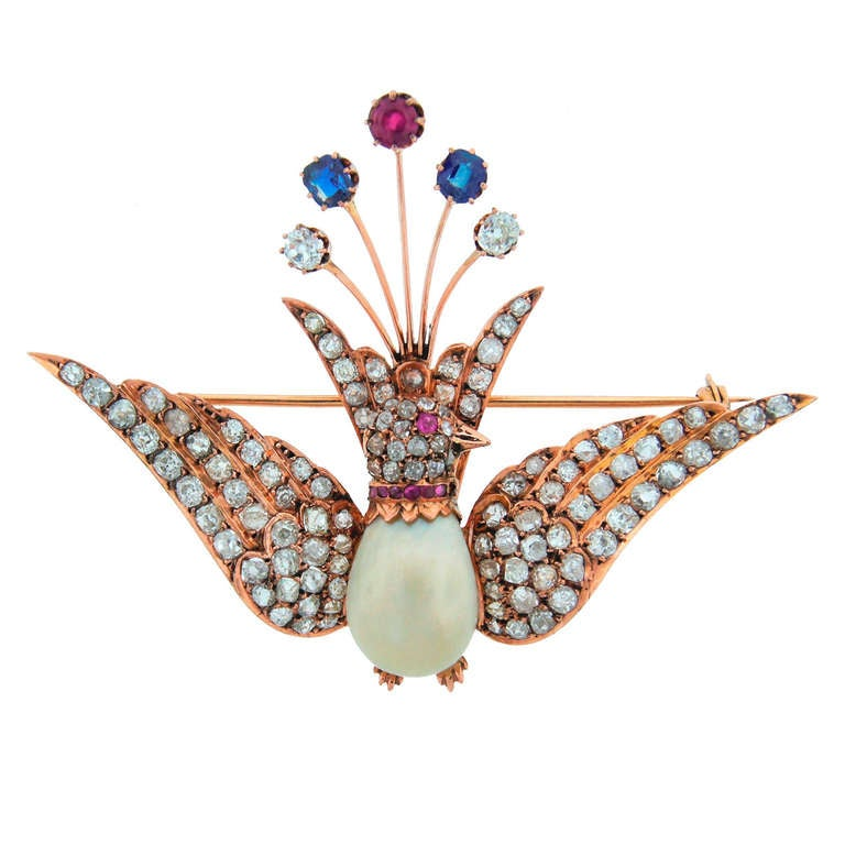 1900s Natural Pearl Diamond Ruby Sapphire & Rose Gold Peacock Brooch Pin