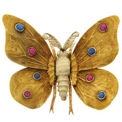 1950s MARIO BUCCELLATI Ruby Sapphire Yellow Gold Butterfly Pin Brooch