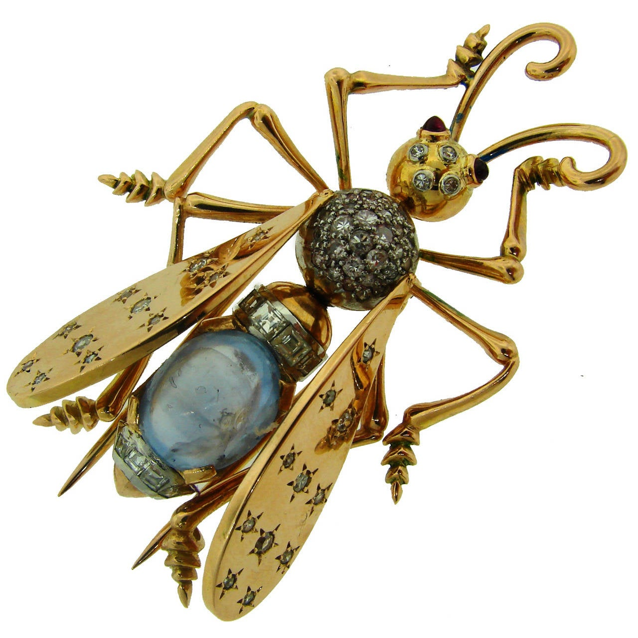 1940s French Moonstone Diamond Yellow Gold Stylized Fly Pin Brooch For Sale
