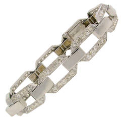 French 1920s Diamond Platinum White Gold Link Bracelet