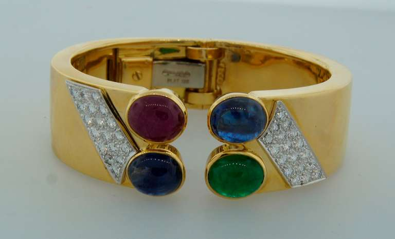 1970s DAVID WEBB Diamond Sapphire Ruby Emerald & Yellow Gold Cuff Bracelet In Excellent Condition For Sale In Beverly Hills, CA