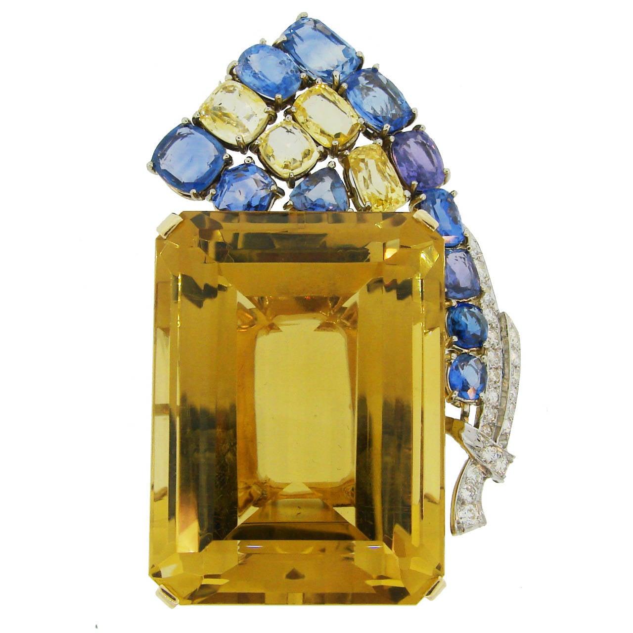 1940s Seaman Schepps Citrine Sapphire Diamond Gold Pin Brooch