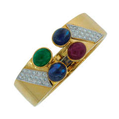 1970s DAVID WEBB Diamond Sapphire Ruby Emerald & Yellow Gold Cuff Bracelet