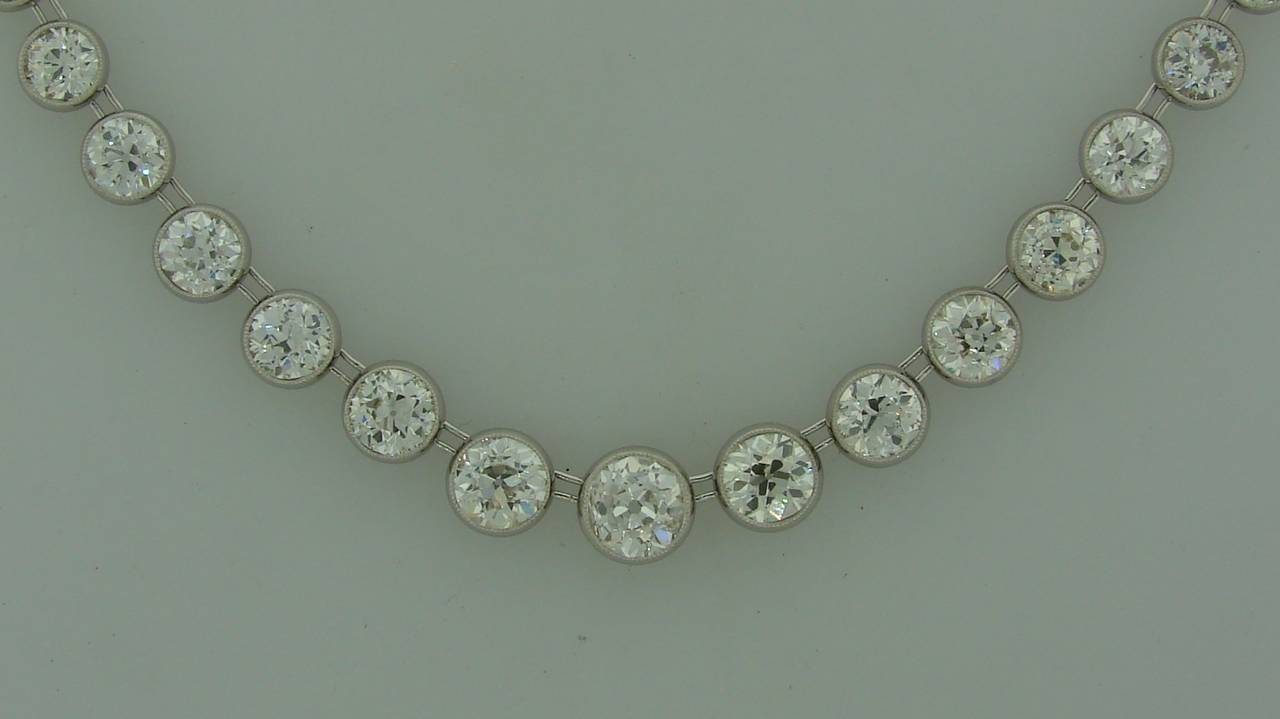 Art Deco 1920s 25 carats Old European Cut Diamond Platinum Riviere Necklace 4