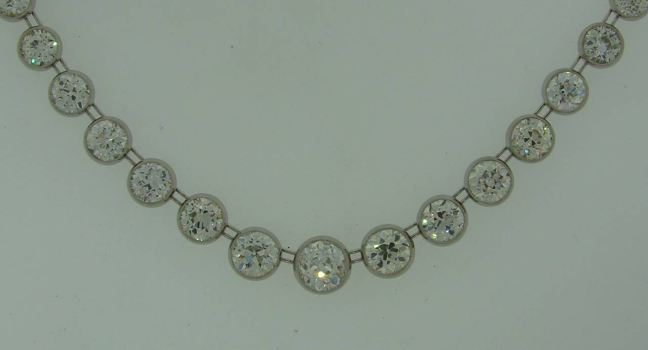Art Deco 1920s 25 carats Old European Cut Diamond Platinum Riviere Necklace 3