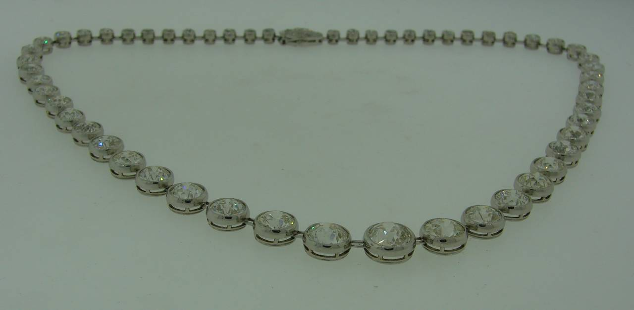 Art Deco 1920s 25 carats Old European Cut Diamond Platinum Riviere Necklace 5