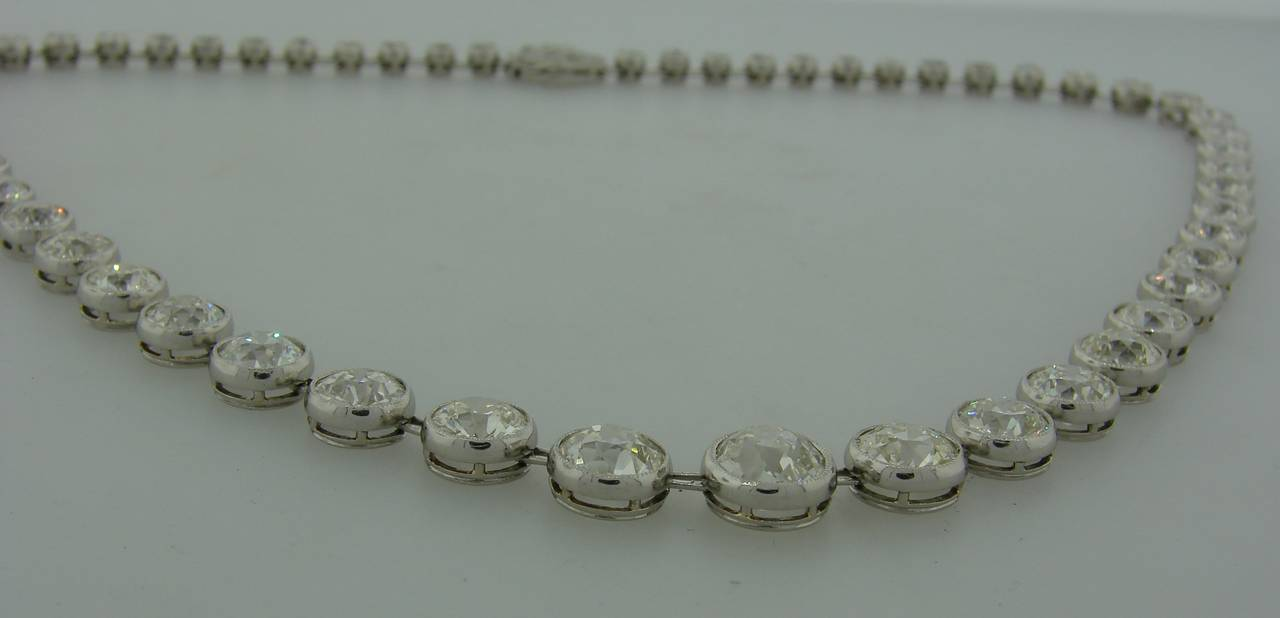 Art Deco 1920s 25 carats Old European Cut Diamond Platinum Riviere Necklace 6
