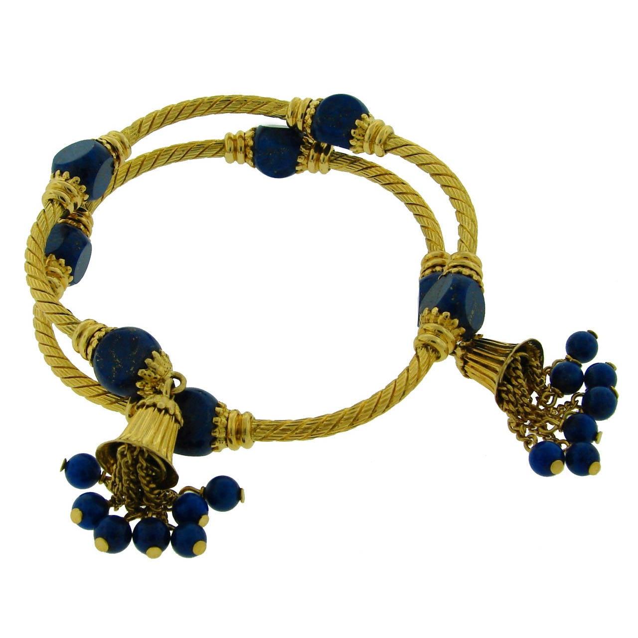 1970s lapis lazuli gold tassel bracelet at 1stdibs. Black Bedroom Furniture Sets. Home Design Ideas