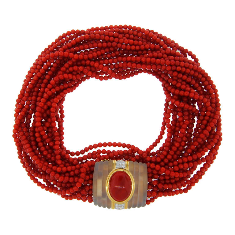Diamond Rock Crystal Coral Bead Necklace 1950 at 1stdibs - 웹