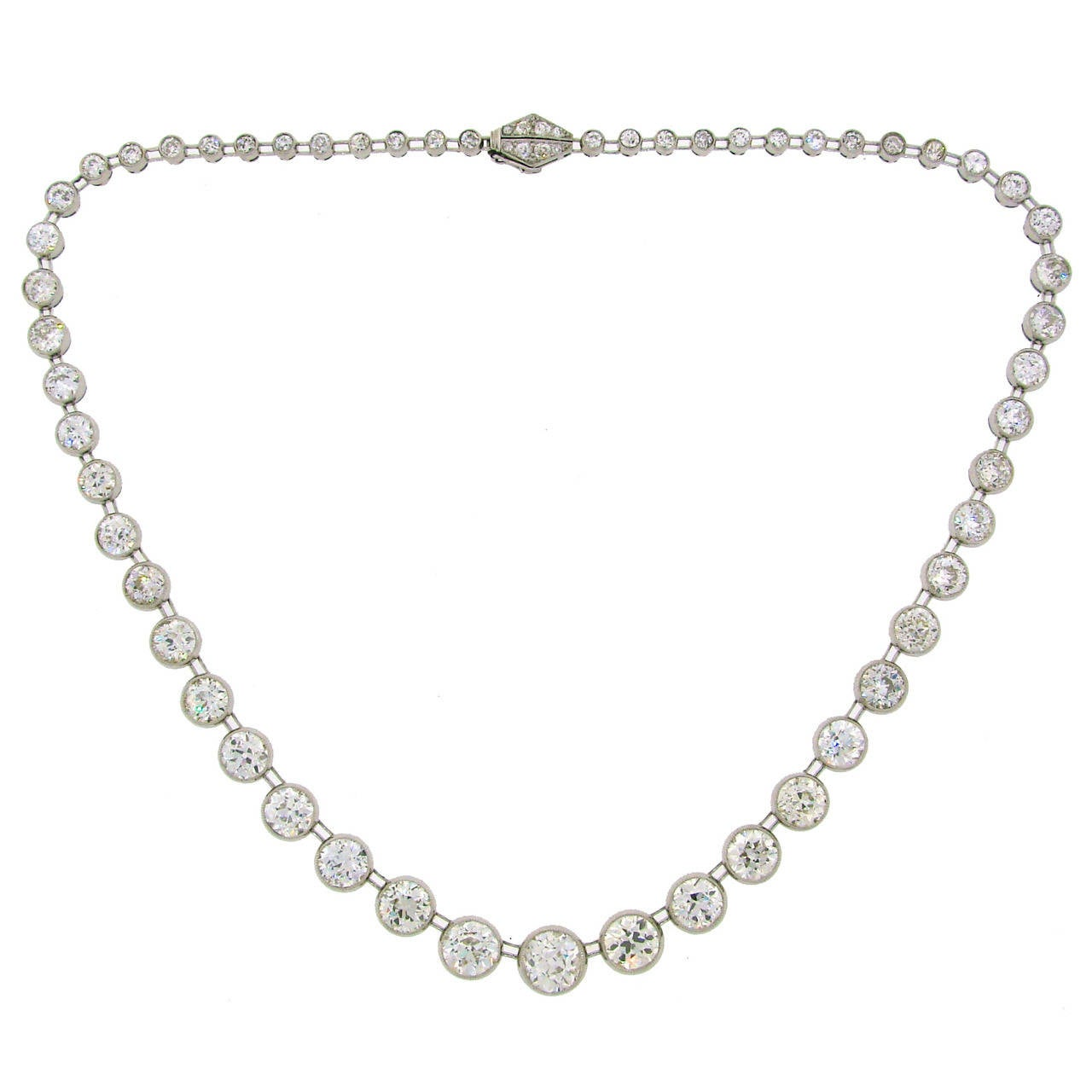Art Deco 1920s 25 carats Old European Cut Diamond Platinum Riviere Necklace 1
