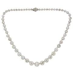 Art Deco Diamond Platinum Riviere Necklace 1920s 25 Carat Old European Cut