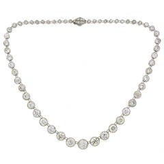Art Deco 1920s 25 Carat Old European Cut Diamond Platinum Riviere Necklace