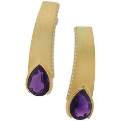 Thierry Vendome Amethyst Diamond Yellow Gold Earrings