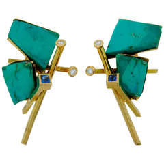 Thierry Vendome Turquoise Tanzanite Diamond Yellow Gold Earrings