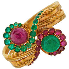 1960s Ruby Emerald Yellow Gold French Bracelet
