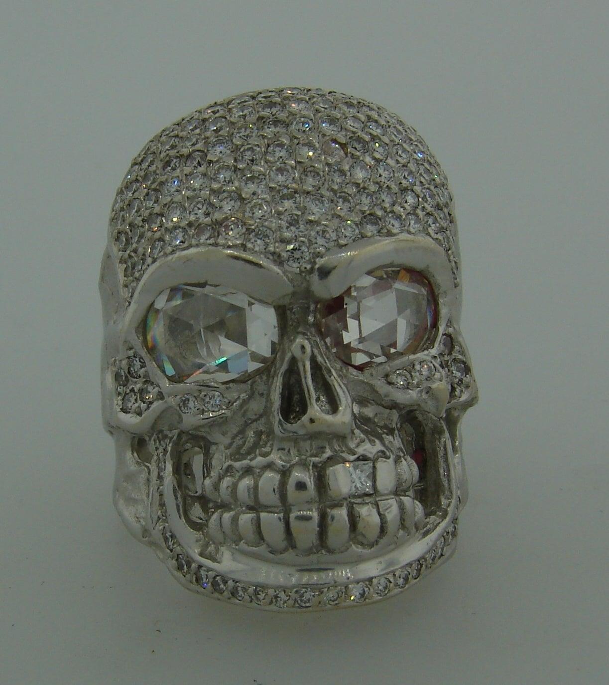 Modern LOREE RODKIN Diamond White Gold Skull Ring For Sale