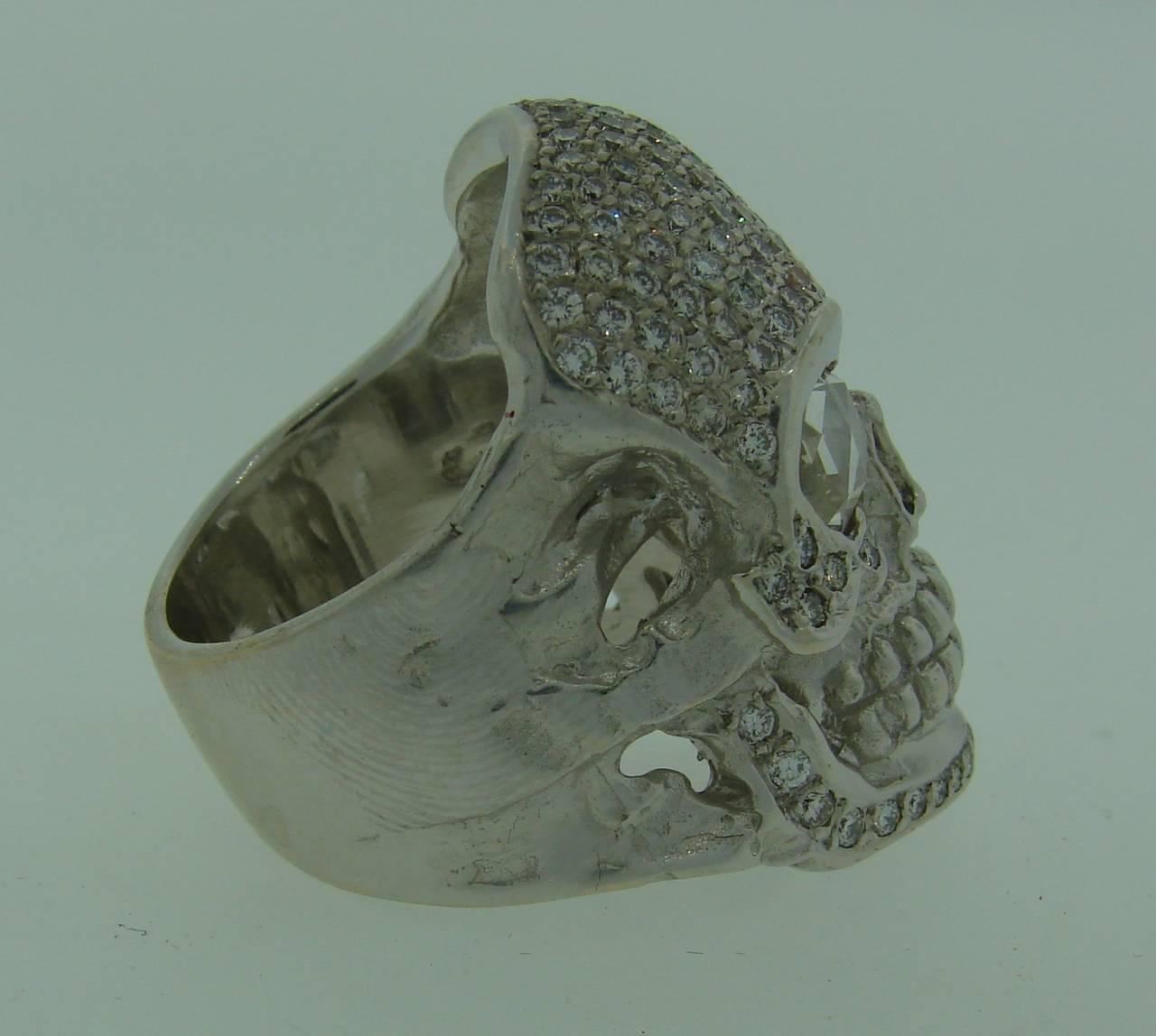 Women's or Men's LOREE RODKIN Diamond White Gold Skull Ring For Sale