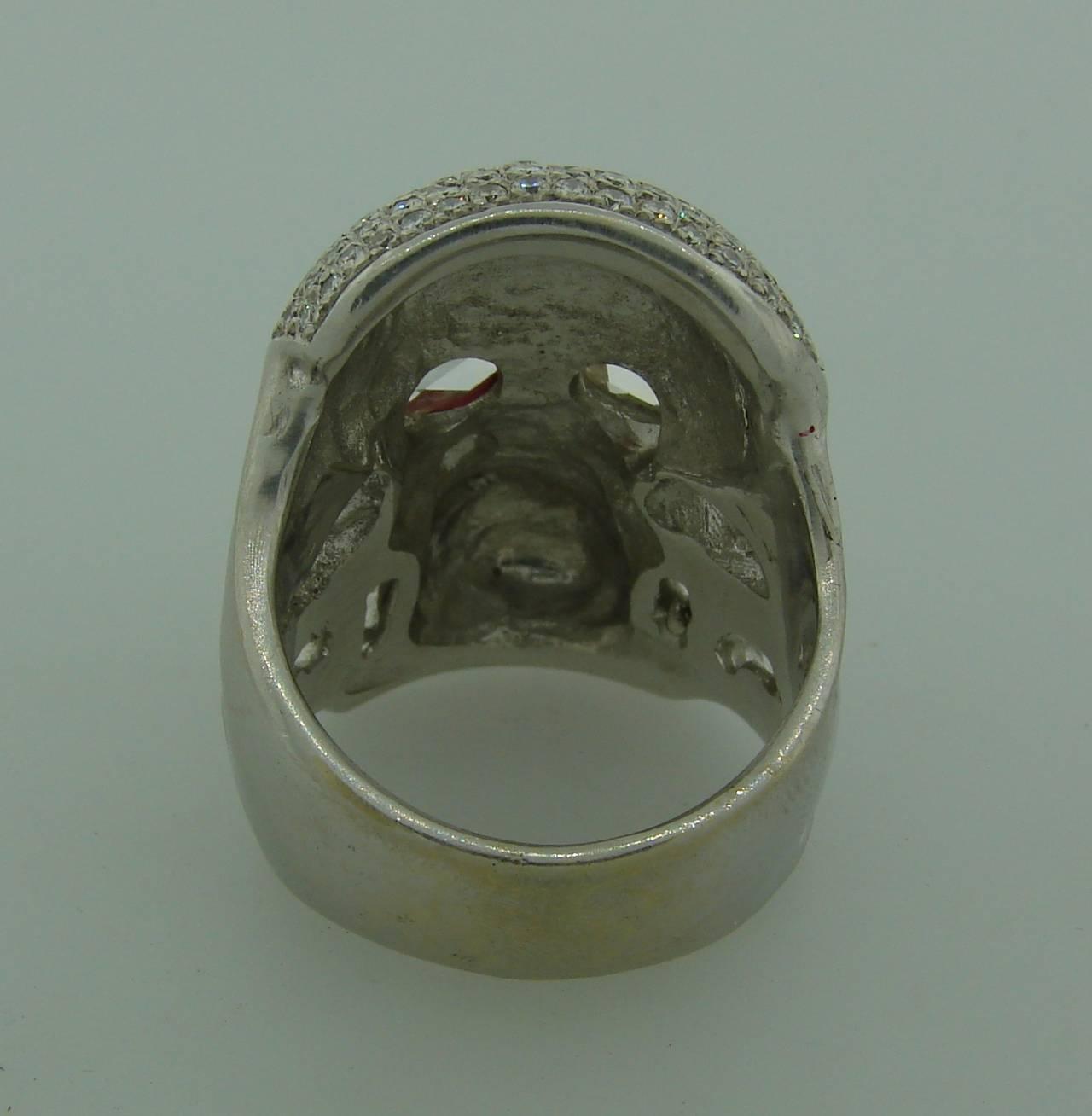 Loree Rodkin Diamond White Gold Skull Ring For Sale 2