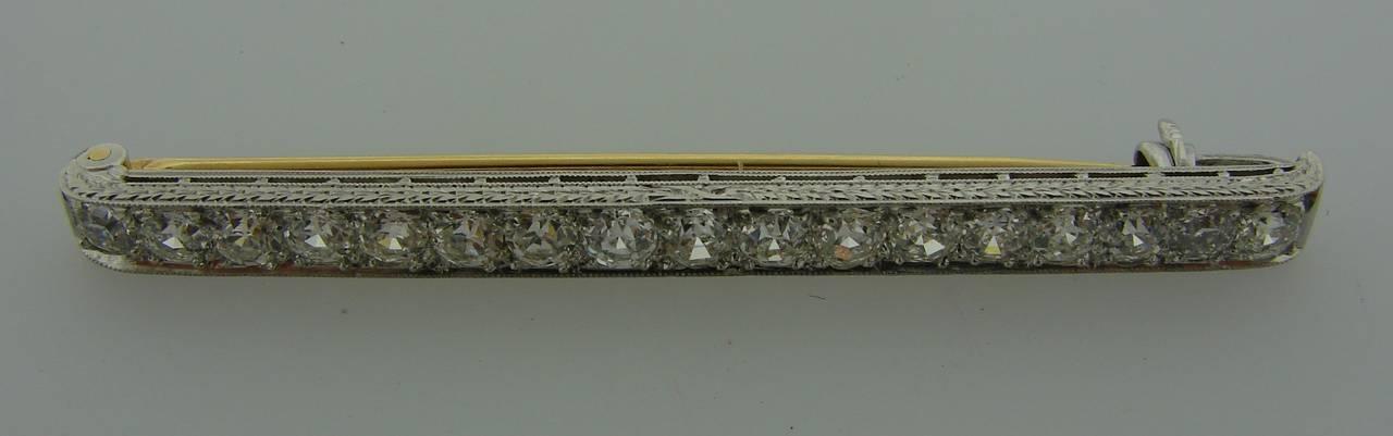 Women's or Men's Tiffany & Co. Art Deco Diamond Platinum Tie Bar Pin Brooch For Sale