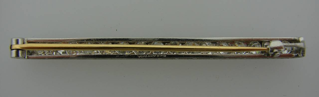 Tiffany & Co. Art Deco Diamond Platinum Tie Bar Pin Brooch For Sale 3