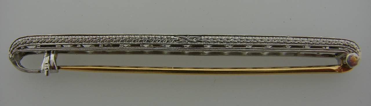 Tiffany & Co. Art Deco Diamond Platinum Tie Bar Pin Brooch For Sale 2