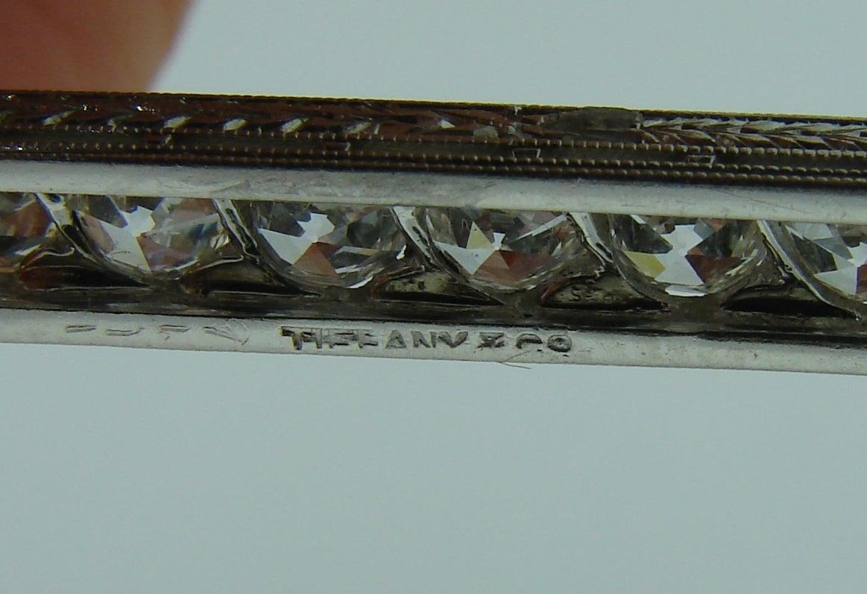 Tiffany & Co. Art Deco Diamond Platinum Tie Bar Pin Brooch For Sale 4