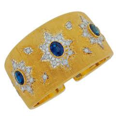 Mario Buccellati Sapphire Diamond and Gold Cuff Bracelet