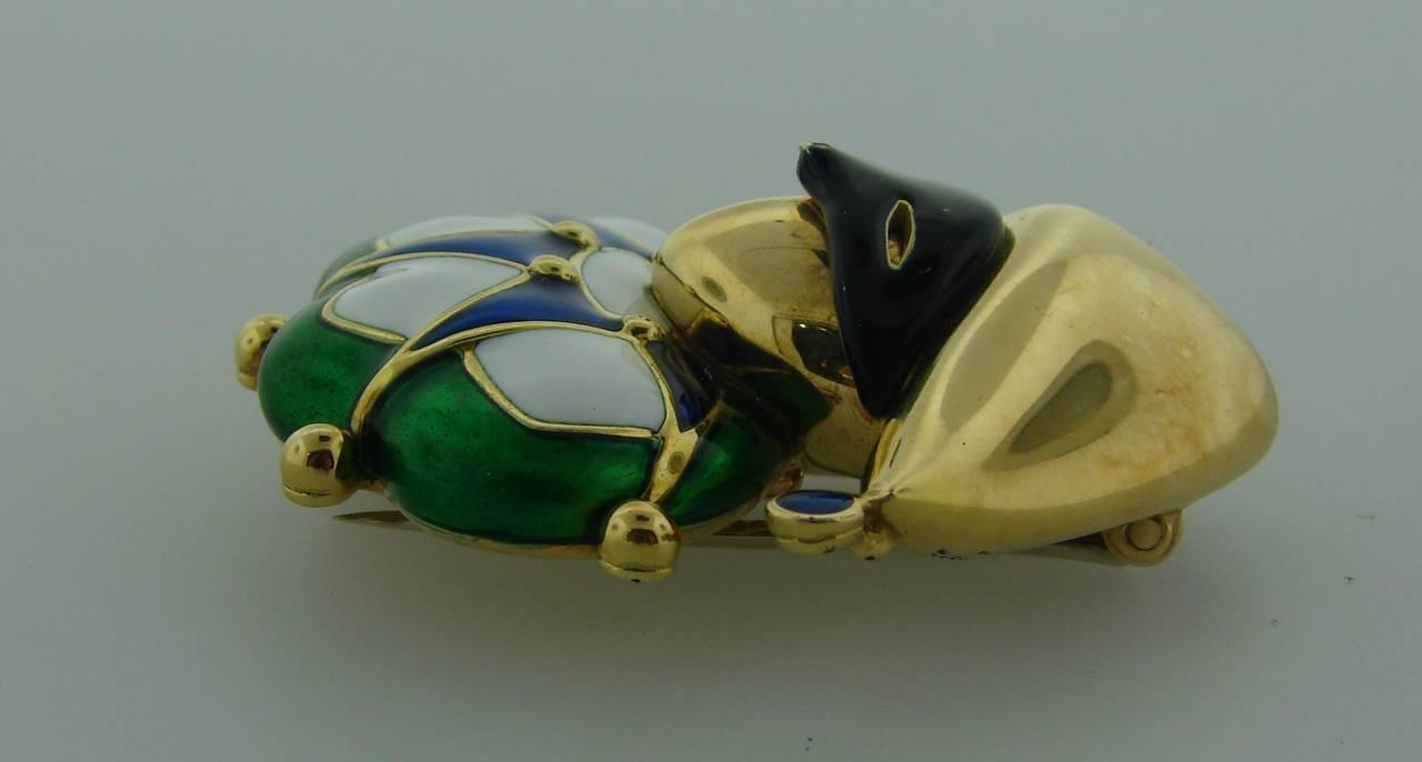 1980s Mauboussin Paris Multi-Color Enamel Gold Jester Pin Brooch 3