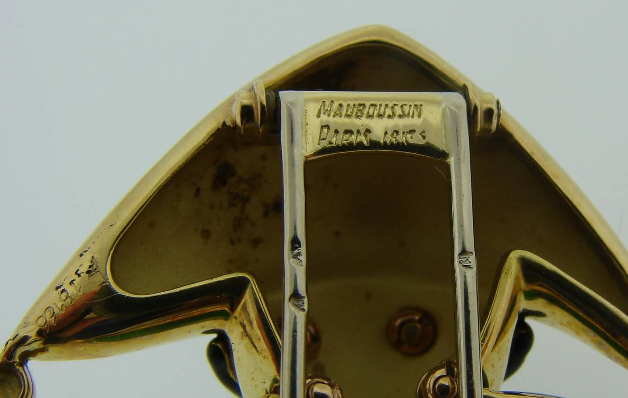 1980s Mauboussin Paris Multi-Color Enamel Gold Jester Pin Brooch 5