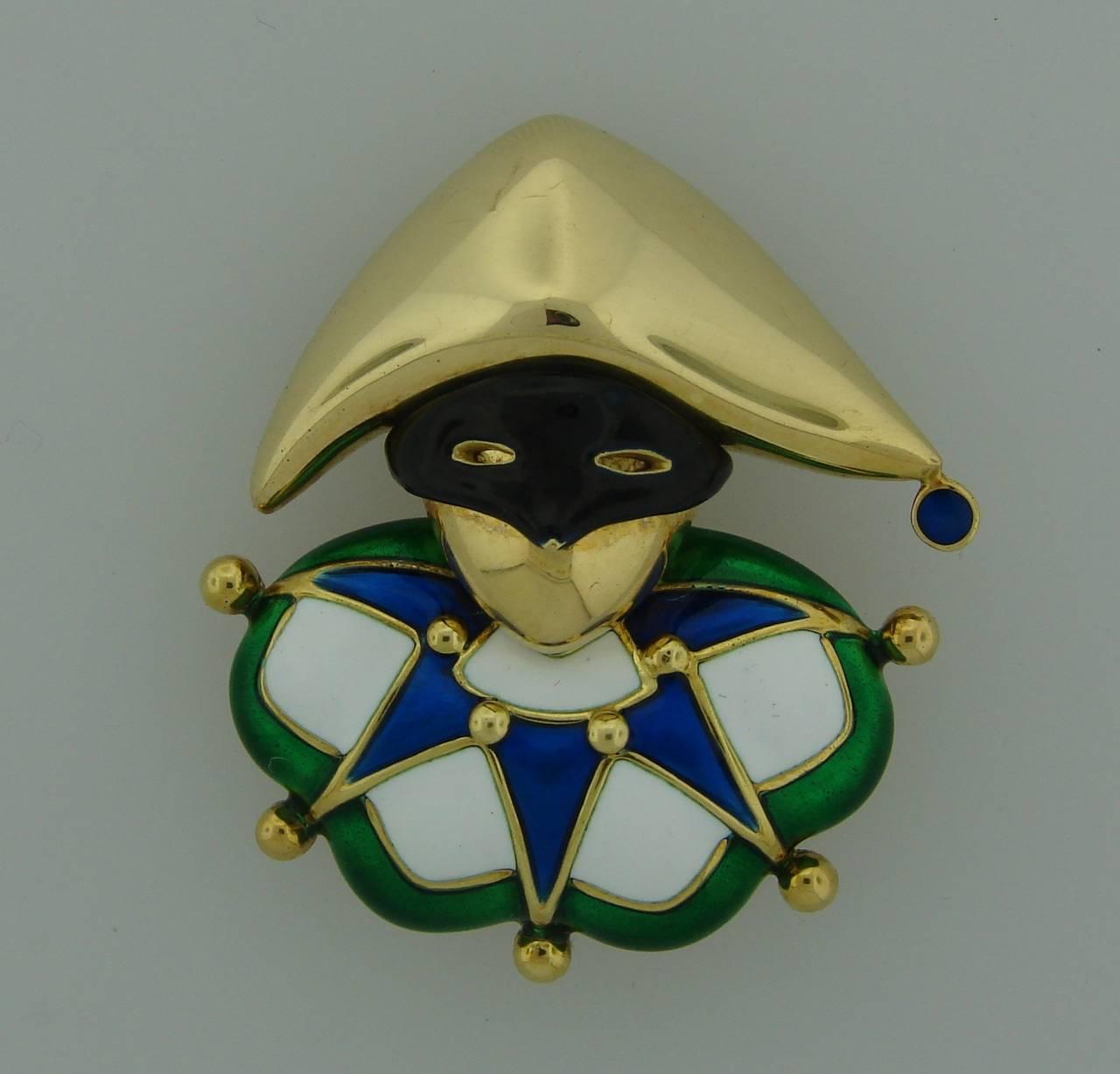 1980s Mauboussin Paris Multi-Color Enamel Gold Jester Pin Brooch 2