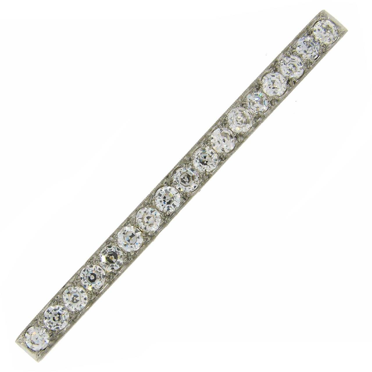 Tiffany & Co. Art Deco Diamond Platinum Tie Bar Pin Brooch For Sale
