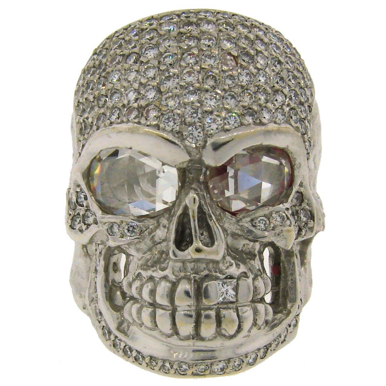 Loree Rodkin Diamond White Gold Skull Ring For Sale