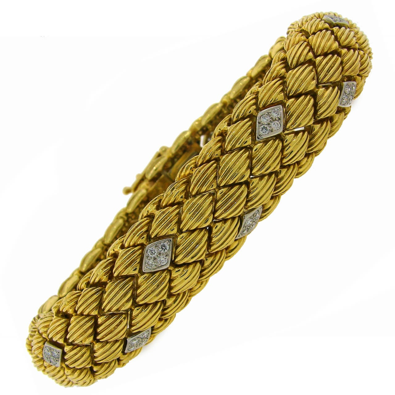 1980s David Webb Diamond Yellow Gold Bracelet