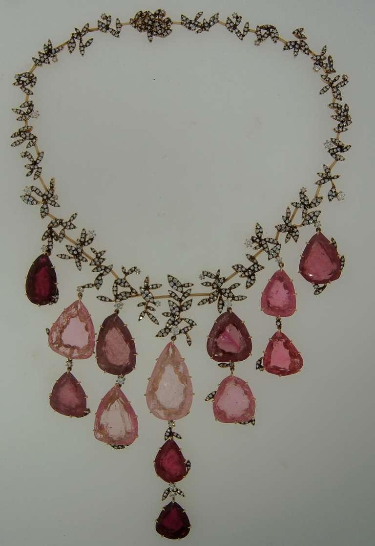 Contemporary H. Stern Tourmaline Pink Quartz Drop Diamond Necklace For Sale