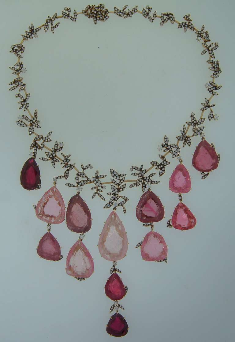 H. Stern Tourmaline Pink Quartz Drop Diamond Necklace In Excellent Condition For Sale In Beverly Hills, CA