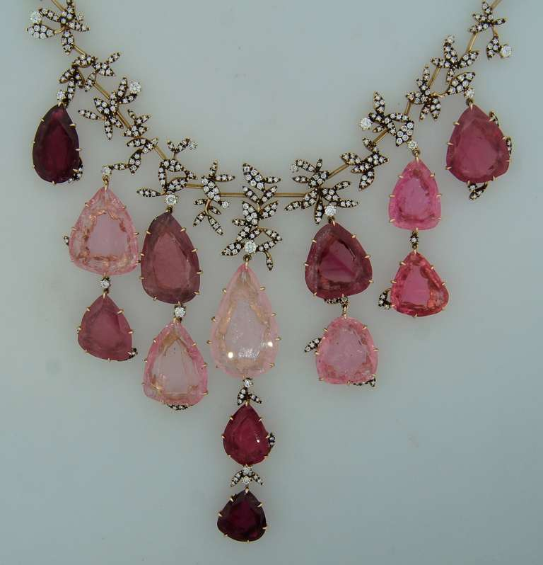Women's H. Stern Tourmaline Pink Quartz Drop Diamond Necklace For Sale