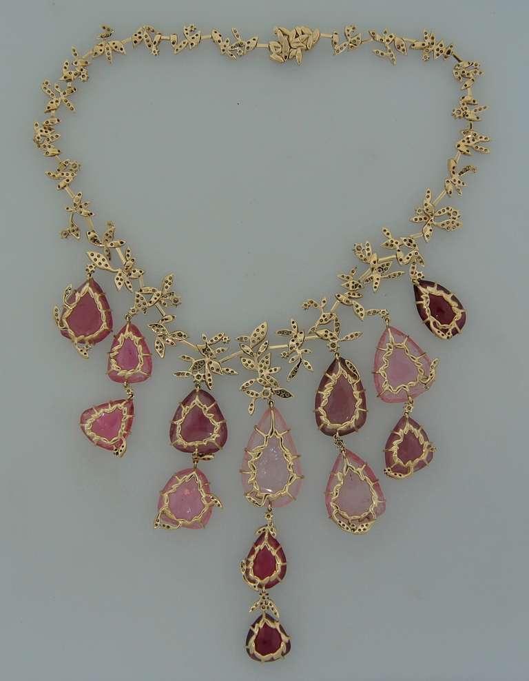 H. Stern Tourmaline Pink Quartz Drop Diamond Necklace For Sale 1