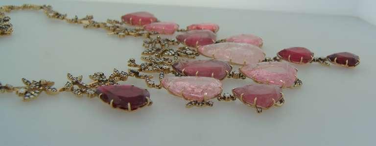 H. Stern Tourmaline Pink Quartz Drop Diamond Necklace For Sale 3