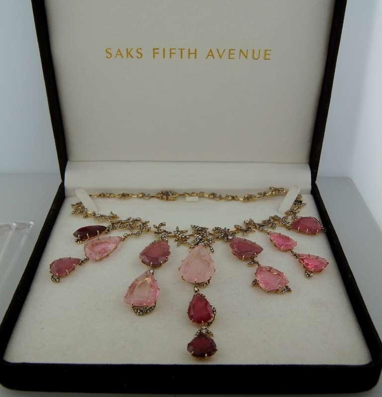 H. Stern Tourmaline Pink Quartz Drop Diamond Necklace For Sale 4