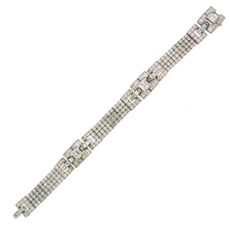 c.1960s OSCAR HEYMAN Diamond Platinum Bracelet