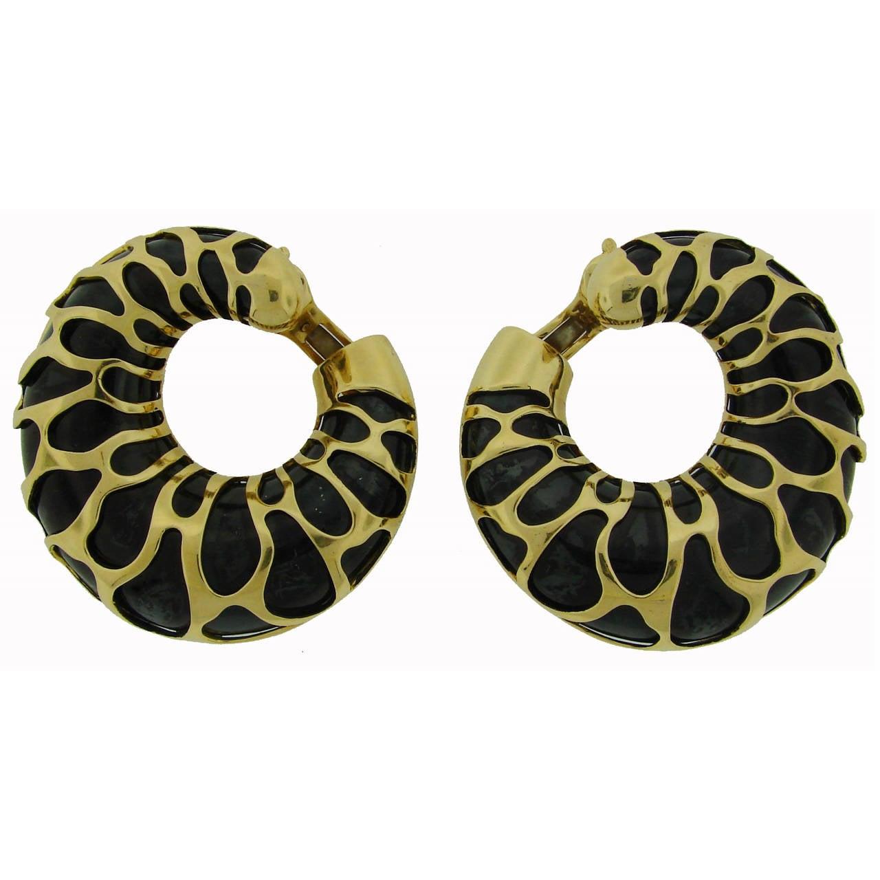 1989 Marina B Metal Gold Giraffe Motif Hoop Earrings