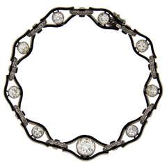 Art Deco Enamel Diamond Palladium Bracelet