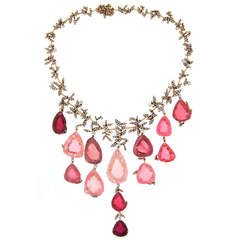 H. Stern Tourmaline Pink Quartz Drop Diamond Necklace