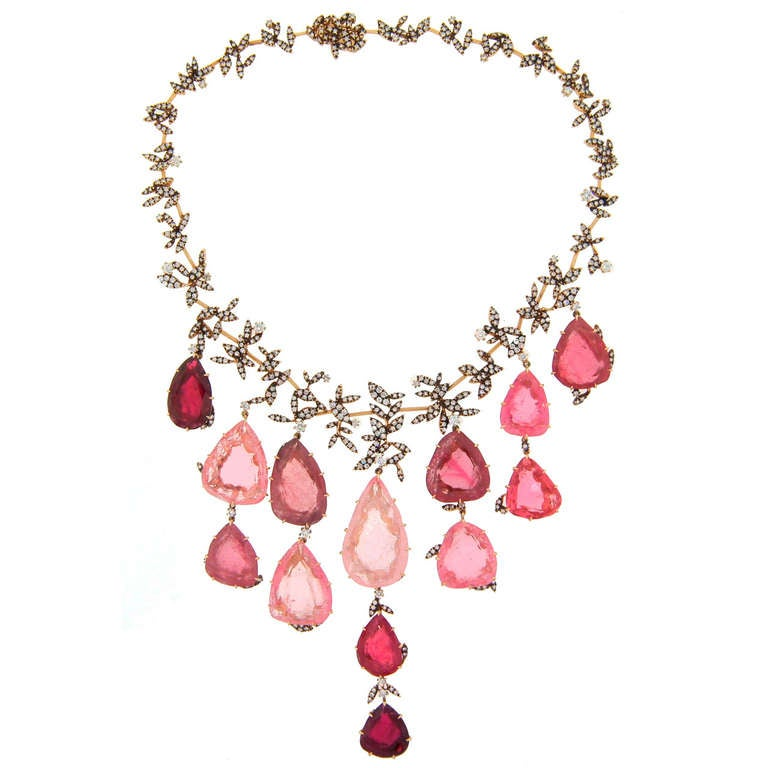 H. Stern Tourmaline Pink Quartz Drop Diamond Necklace