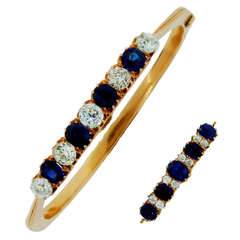 Imperial Russia Sapphire Diamond Yellow Gold Bangle Bracelet and Pin / Brooch