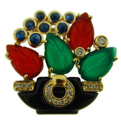 1989 Cartier Gems Diamond Yellow Gold Tutti Frutti Motif Pin Brooch