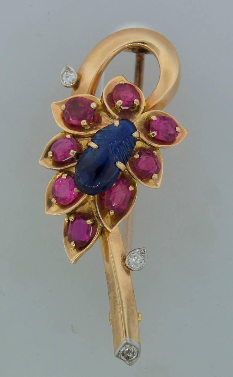 Cartier Sapphire Ruby Diamond Yellow Gold Flower Pin Brooch 2