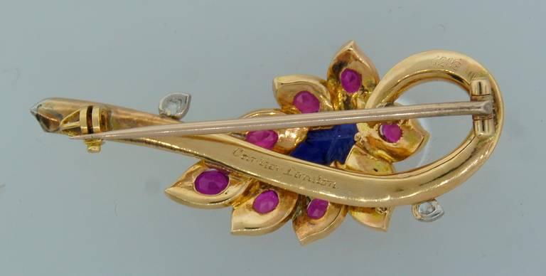 Cartier Sapphire Ruby Diamond Yellow Gold Flower Pin Brooch 5