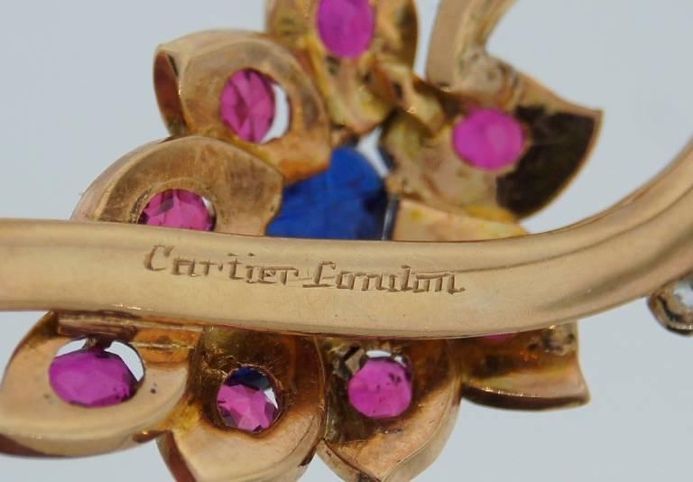 Cartier Sapphire Ruby Diamond Yellow Gold Flower Pin Brooch 8