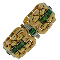 Retro 1940s Green Tourmaline Diamond Gold Bracelet